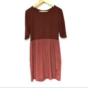 TopShop burgundy quarter sleeves short dress 4